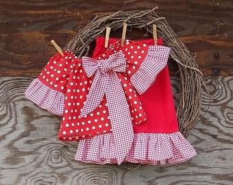 Girls Christmas Set, Girls ruffled pants, girls red outfit, Kids Christmas Outfit, Girls Holiday outfit