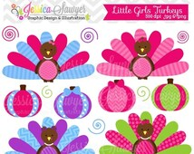 80% OFF - INSTANT DOWNLOAD, little girls  turkeys, thanksgiving turkey clipart, for commercial use, personal use, invites, cards, scrapbooki