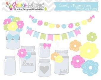 80% OFF - INSTANT DOWNLOAD,  Mason jar clipart - vintage wedding - bunting banner - patterned- commercial use - flower - digital element