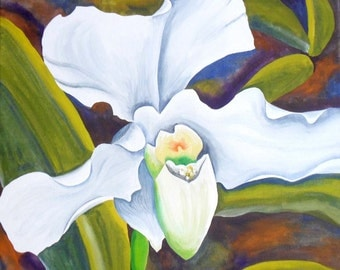 White Flower Original Acrylic on Canvas