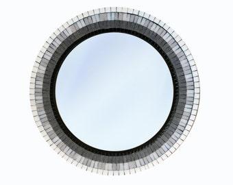 Mosaic Wall Mirror, Black Gray White Ombre, Decorative Mirror, Round Wall Art, Glass Mosaic
