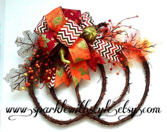 Grapevine Pumpkin Wreath - Fall Decor - Halloween Wreath - Fall Wreath - Home Decoration