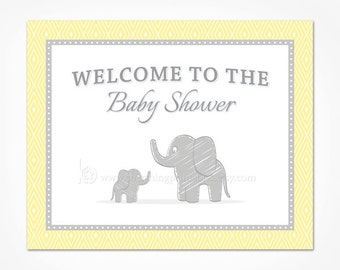 Baby Shower Welcome Sign - Elephant Theme Decorations - Gray Grey and Yellow Gender Neutral Printable File Instant Download