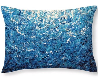 Blue Pillow, Throw Pillow, Impressionist Blue Living Room Decor, Abstract Art Decorative Pillow Cushion, Couch Pillow, Ocean Bedroom Pillow