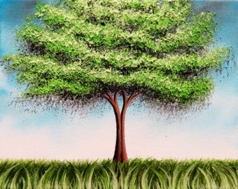 Green Tree Art Print, Tree Print, Summer Tree Whimsical Art, Giclee Print of Landscape Painting, Contemporary Tree Decor, 4x5, 8x10, 11x14