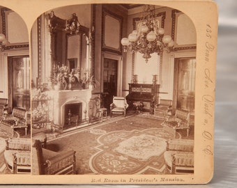 RED ROOM  at the Presidents Mansion - Very Rare 1900's Jarvis Stereoview - Old White House in Washington DC