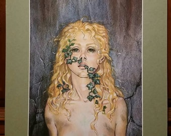 """Ivy - Print of Original Drawing, matted to 11"""" x 14"""""""