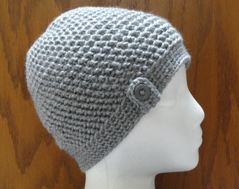 Crochet Herringbone Button Beanie Hat Heather Gray  Women Teen Cap Cloche