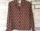 RESERVED 80s vtg navy gold royal paisley print secretary blouse sz medium