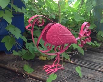 Metal Feet Bird - Pink French Scrolled Metal Bird - Outdoor Garden Patio