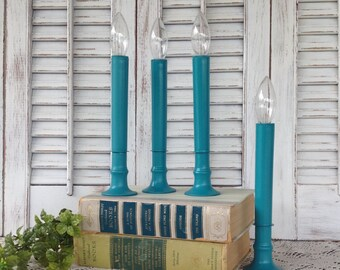 4 Teal Blue Candeliers - Flameless Candlesticks - Battery Operated Lights