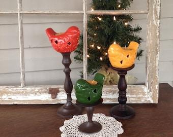 Birds on Pedestal Tea Light Holders - Marigold, Green, Orange Table Top Candle Holder
