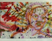 clearance sale aceo UP IN SPA original kimartist crazy face folk graffiti grafitti modern raw woman red pink orange yellow black white sfa