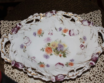 Antique White Floral Serving Dish with Beautiful cut out Edging and Handles