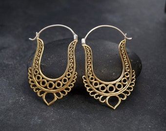 SALE - Gypsy Hoop Earrings - Devi Hoops - Brass w/ sterling posts