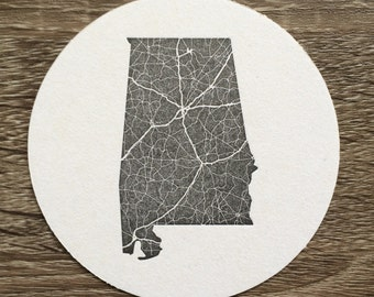 Alabama Letterpress Coaster. Set of 10 Alabama Highway Map Drink Coasters. Perfect for Wedding or Party Favors. Black and White.