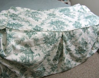 """BEAUTIFUL TOILE Bench Slipcover 17""""w  x 39"""" l  Green Toile Lined Cotton 27"""" l Skirt"""
