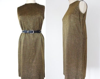 Vtg 60s Sleeveless Textured GOLD & Black TINSEL Dress, Very Saint Laurent! Small to Medium