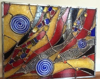 Abatract Stained Glass Transom Window Contemporary Suncatcher Panel