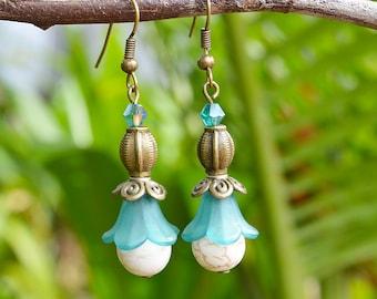 Blue Flower Earrings handmade with howlite gemstones and victorian brass beads elegant jewelry