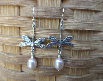 Dragonfly Sterling Silver and Pearl Dangle Drop Earrings Silver Earrings Dragonfly Jewelry Pearl Jewelry