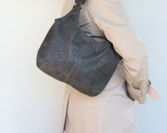 Original Gray Leather Purse with Top Zip - Shoulder Handbag - Unique Textured Pattern on Leather bony