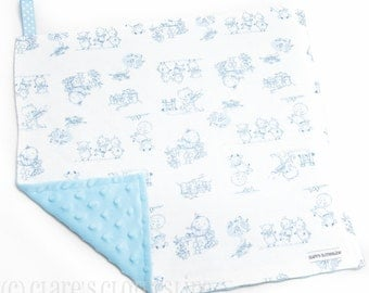 """Baby Lovey Blanket - Blue and White Nursery Rhymes Characters Lovey 15""""x15"""" - Ready to Ship"""