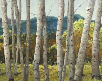 BIRCH GROVE II Large Original Painting by, Artist Beth Capogrossi Trees Birches Birch Painting Thick Knife