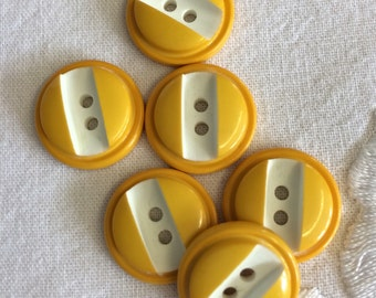 Vintage Mustard Yellow Buttons x 6