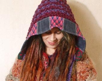 Knit hood Ear flap hat Crochet hood Winter accessories Pixie hat Purple crochet hat Winter hat Crocheted hood Hooded hat Purple hood
