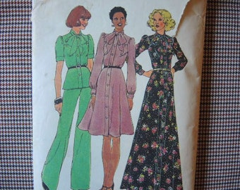 vintage 1970s Simplicity sewing pattern 6664 misses dress in two lengths or top and pants size 10
