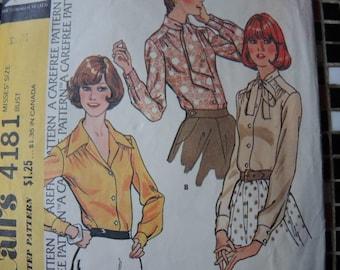 vintage 1970s McCalls sewing pattern 4181 misses set of blouses size 12