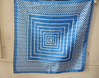 vintage 1970s acetate scarf blue checkered and striped  21 x 21 inches