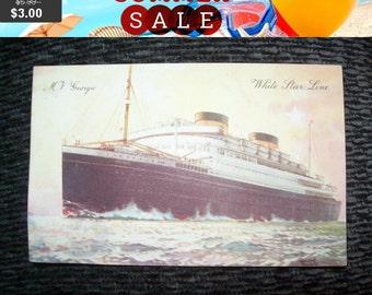 SALE Vintage M V Georgic White Star Line  postcard,history, memorabilia, ship postcard, steamer