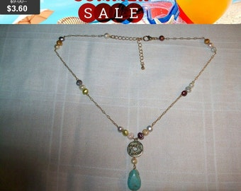 SALE 60% Off Peace Love Smile turquoise pendant on beaded necklace
