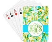 Delia Monogram Personalized Playing Cards | Preppy Floral | Yellow and Turquoise | Spring | Summer