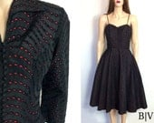 Valentines Day Dress Vintage 50's Dress and Jacket Taffeta Dress Eyelets Black and Red Dress 60's Dress Party Dress Cocktail Dress Gown Prom