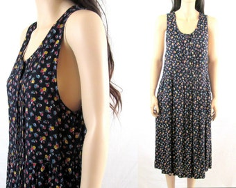 80's Dress 90's Dress Minimalist Dress Tank Dress 90's Dress Floral Dress Vintage Dress Vintage Minimalist Dress 90's Revival Dress
