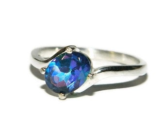 Mystic Topaz Ring, Oval Stone, Sterling Silver Setting, Flower Petal Topaz