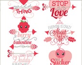 Valentine Clip Art Girl Sayings  -Personal and Limited Commercial Use- Cute Valentine Clipart Titles
