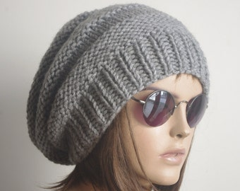 READY SHIP Womens hat - chunky knit Slouchy hat gray   Beanie Slouch Hat Fall Winter Accessories woman hat Christmas Fashion