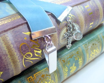 Velvet Ribbon Bookmark, Dusty Blue, Silver Cross Bookmark, Vintage Style, Book Mark, Book Lover, Valentine's Day Gift, Bookmark Clip