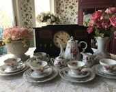 Vintage Moss Rose Tea Sett for 6 with 21 Pieces made in Japan with Tea Plates Included Tea Set for 6