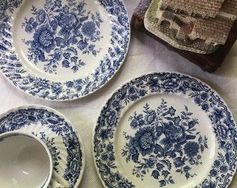 Set of 2 Ridgway Blue English Transferware  Plates Clifton Pattern