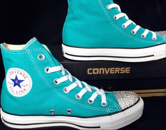 Turquoise Blue Converse High Top Mens Womens GlassSlippers w/ Swarovski Crystal Rhinestone Teal Wedding Chuck Taylor All Star Sneakers Shoes