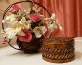 Trinket Box, Jewlery Box, Basket of Woven Wicker in a Dark Tan with a Metal Clasp