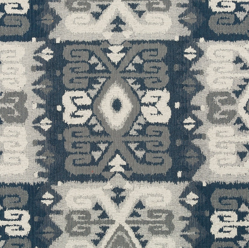 blue grey tribal upholstery fabric navy blue navajo fabric. Black Bedroom Furniture Sets. Home Design Ideas
