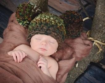 Camo Baby Hat Newborn Baby Hat Hunting Baby Hat Woodland Baby Hat Baby Boy Hat Baby Girl Hat Pom Pom Baby Hat Green Baby Hat Brown Baby Hat