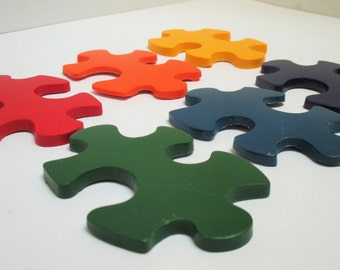Puzzle piece crayons, party favors, goody bags, autism awareness