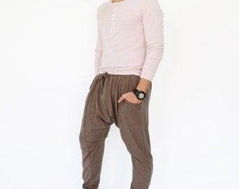 NO.192 Brown Gray Cotton-Blend Jersey Harem Pants, Casual Drop-Crotch Trousers, Slouched Jogger Pants, Unisex Pants